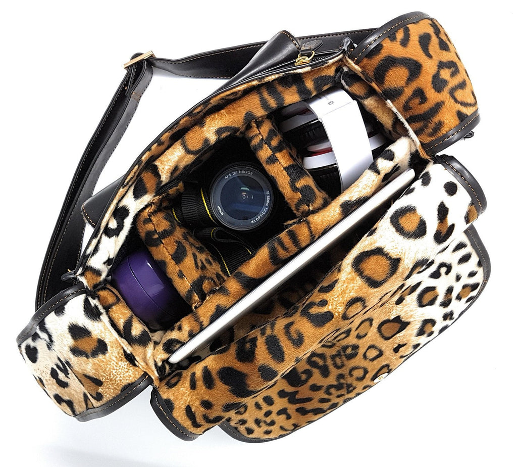 Camera Bags - Purple Relic: DSLR Camera Saddle Black Bag With Tiger Print Insert; Removable Insert; Fits Standard Size DSLR With Lens For Canon Nikon Sony;