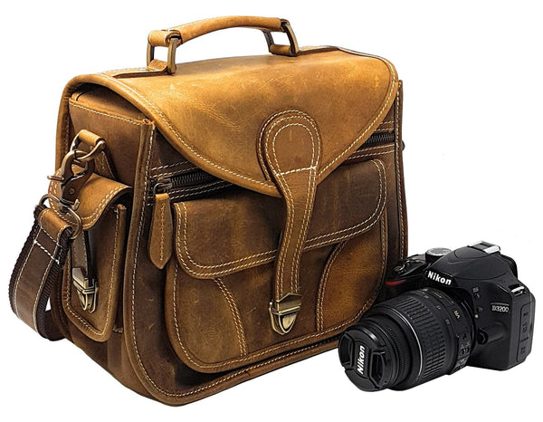 Camera Bags - Purple Relic: Vintage Leather Camera Bag ~ Fits Compact DSLR With Lens For Nikon D3200, Canon 1200D, Sony A7