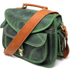 Camera Bags - Purple Relic: Vintage Leather DSLR Camera Bag (Green); Crossbody; Fits DSLR With Lens For Canon Nikon Sony;
