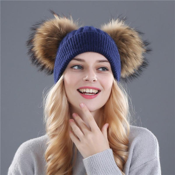 Hats & Caps - Double Pom Pom Winter Hat Beanies Skullies