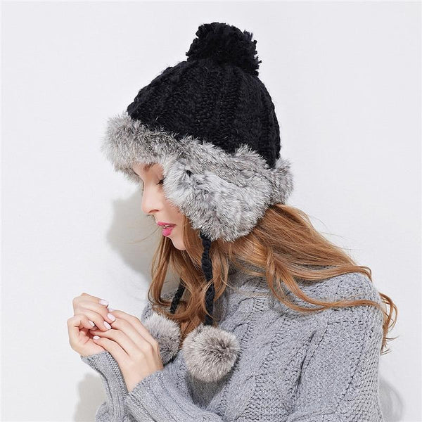 Hats & Caps - Ear Flaps Winter Hat ~ Bomber Women Rabbit Fur Cap