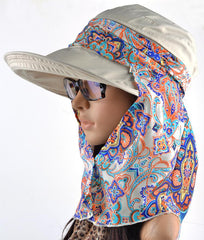 Hats & Caps - PURPLE RELIC: Detachable Hat Women ~ Visor Cap With Scarf ~ UV Protection