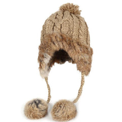 Hats & Caps - Purple Relic: Ear Flaps Winter Hat ~ Bomber Women Rabbit Fur Cap