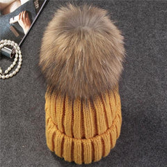 Hats & Caps - Purple Relic: Mink Fur Ball Winter Cap ~ Pom Poms Women Beanies