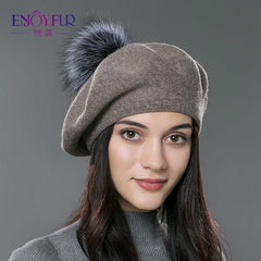 Hats & Caps - Purple Relic: Winter Wool Hat With Soft Fur Pom Pom ~ Knitted Cap