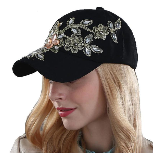 Hats & Caps - Rhinestone Denim Baseball Women Cap  ~ Ladies Sports Hat
