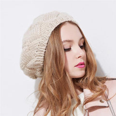 Hats & Caps - Winter Beret Women Hat ~ Knitted Woolen Cap