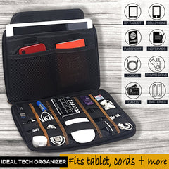 Genuine Leather Electronics Cable Organizer -Holds 9.7-inch Tablet, Passport, Cords Tech Accessories