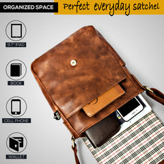 Purple Relic: Brown Messenger Bag - Unisex Crossbody Shoulder Satchel - iPad Tablet Bag