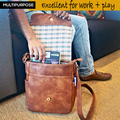 Purple Relic: Brown Messenger Bag - Men Crossbody Shoulder Satchel - iPad Tablet Bag