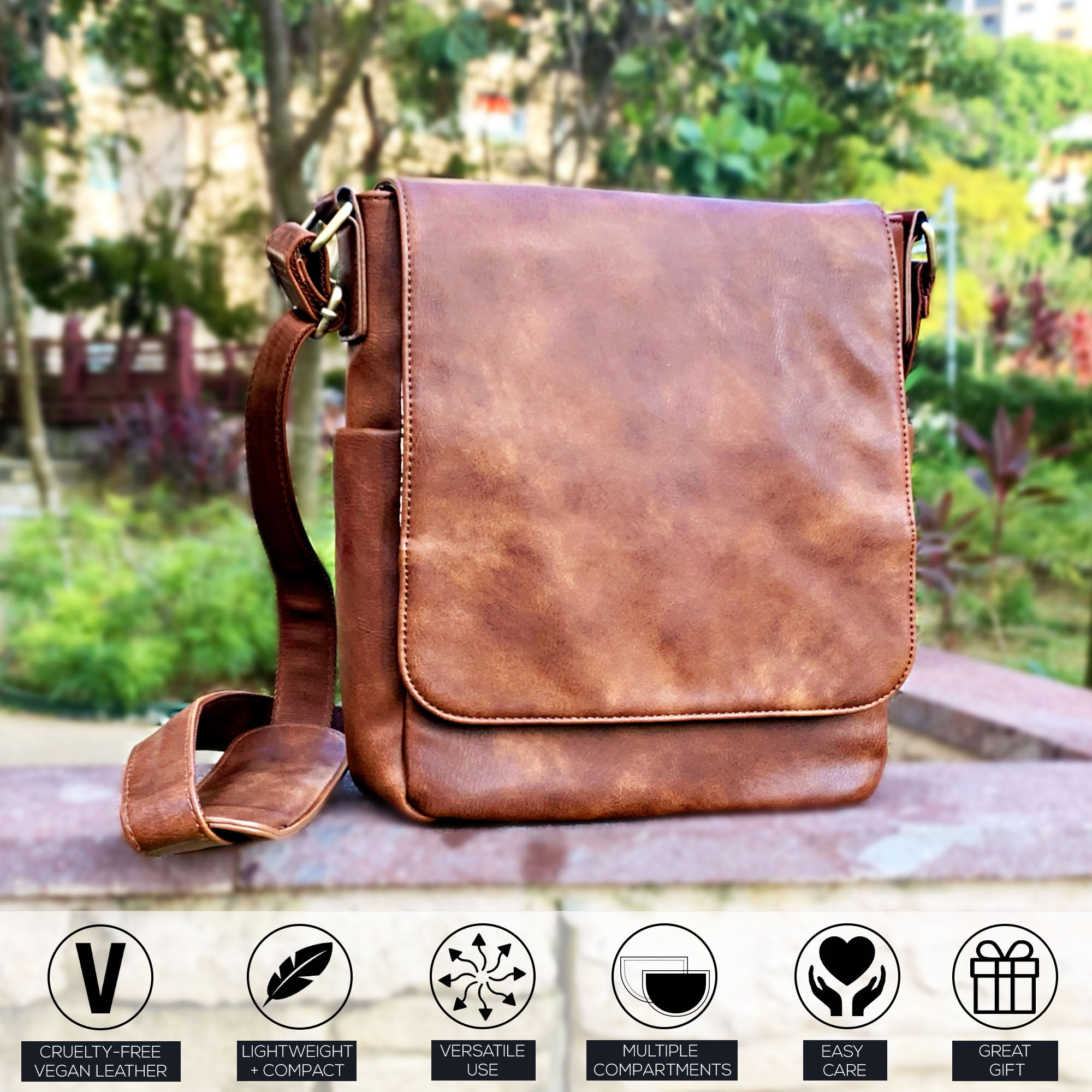 Purple Relic: Brown Messenger Bag - Woman Crossbody Shoulder Satchel - iPad Tablet Bag