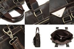 Laptop Bags - Business Briefcase Leather Laptop Bag; Men Shoulder Crossbody Messenger Bag;