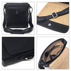 Leather Messenger Bag - 11-inch Man Bag ~ Tablet Laptop Messenger Satchel Sling City Flapover Bag ~ Man Handbag (11