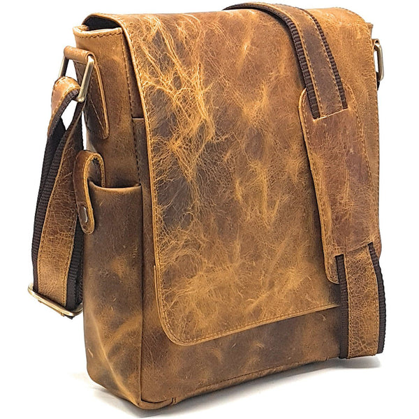 Leather Messenger Bag - PURPLE RELIC: Rustic 11-inch Leather Man Bag ~ IPad Bag ~ Messenger Satchel Sling City Flapover Bag ~ Man Handbag (Tan)