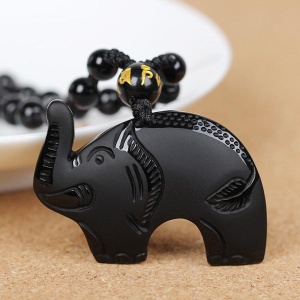 Men Jewelry - Black Natural Obsidian Elephant Pendant; Lucky Charm; Men Jewelry; Women Bead Chain;