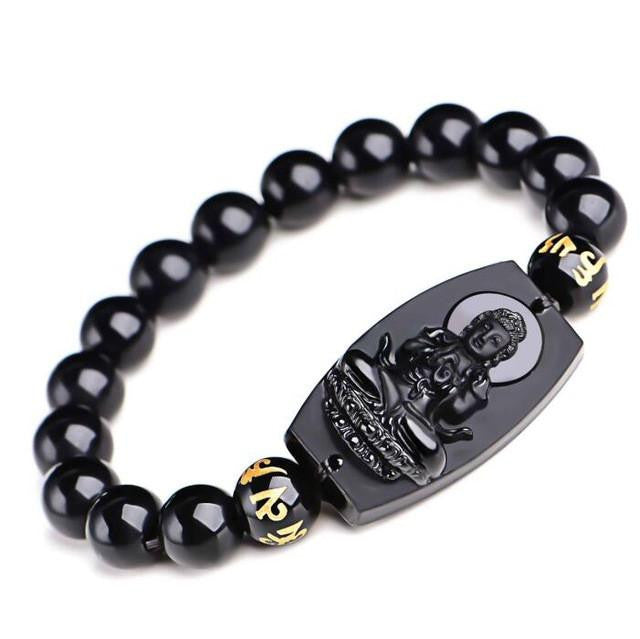 Men Jewelry - Black Obsidian Buddha Bracelet; Carved Lucky Amulet Round Beads;  Women Men Bracelet Jewelry;