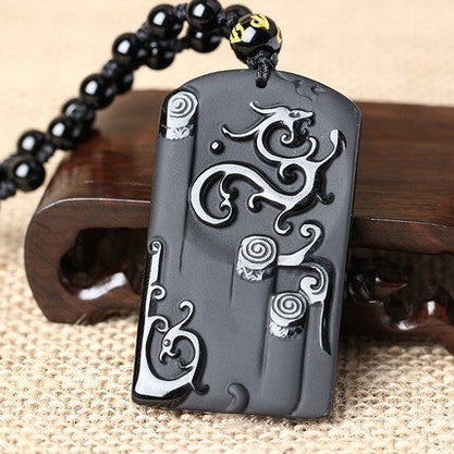 Black obsidian necklace carved ancient dragon lucky amulet pendant black obsidian necklace carved ancient dragon lucky amulet pendant purple relic mozeypictures Choice Image