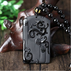 Men Jewelry - Black Obsidian Carved Ancient Dragon Lucky Amulet Pendant With Free Bead Necklace; Men Jewelry;