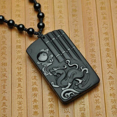 Men Jewelry - Black Obsidian Dragon Carving Amulet Pendant With Bead Necklace;