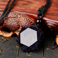 Men Jewelry - Blue Sandstone Pendant ~ Six Awn Star Necklace ~ Men Women Jewelry