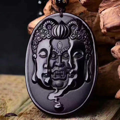 Men Jewelry - Buddha And Devil Obsidian Pendant; Free Bead Necklace; Men Jewelry;