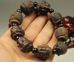 Men Jewelry - Buddha Head Bracelet;  Wooden Bead Men Jewelry;