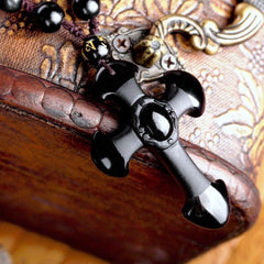 Men Jewelry - Cross Pendant; Natural Obsidian Jade Necklace; Jewelry For Men Women;