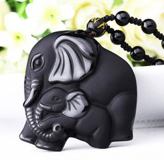 Men Jewelry - Elephant Obsidian Amulet; Natural Black Obsidian Pendant With Necklace; Carved Mother Baby Elephant; Fashion Jewelry;