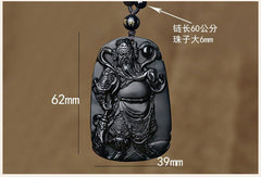 Men Jewelry - Fine Chinese Carving Pendant; Natural Black Obsidian Stone Carving With Bead Necklace;
