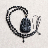 Men Jewelry - Fine Obsidian Carving Pendant; Chinese Zhenwu Emperor; Necklace Pendant;