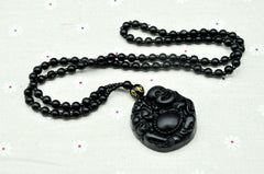 Men Jewelry - Laughing Buddha Obsidian Pendant; Black Bead Necklace; Lucky Charm Jewelry Women Men Unisex;