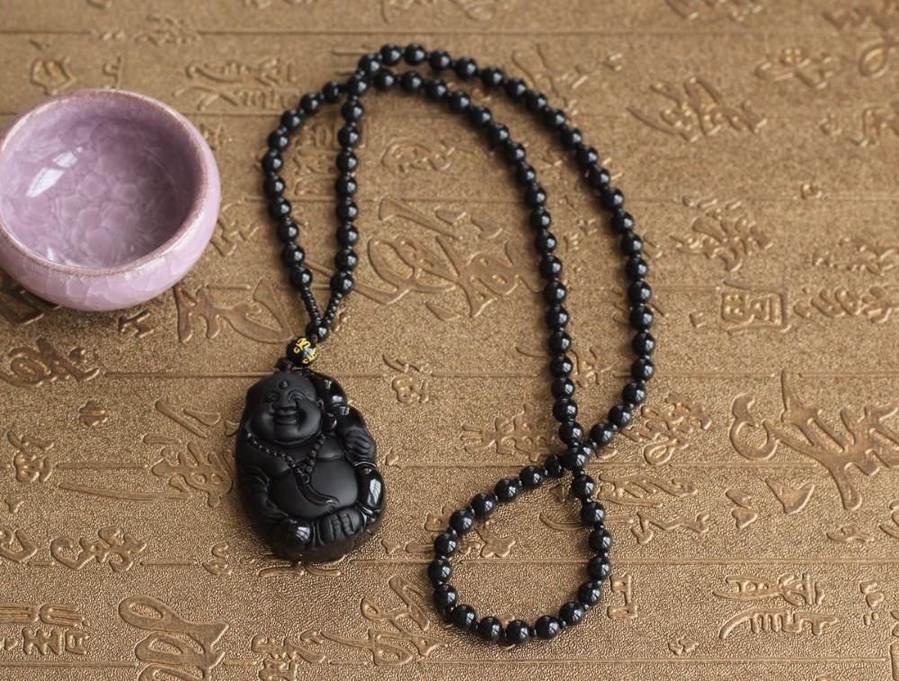 Men Jewelry - Natural Black Obsidian Carved Laughing Buddha; Lucky Amulet Pendant Necklace;