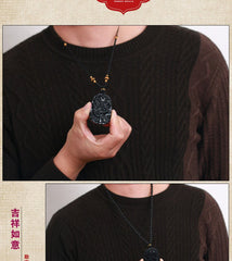 Men Jewelry - Natural Black Obsidian Dragon Pendant With Necklace; Fine Chinese Carved Pendant;
