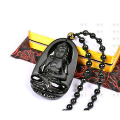 Men Jewelry - Natural Obsidian Buddha Pendant; Black Bead Necklace For Men/Women;
