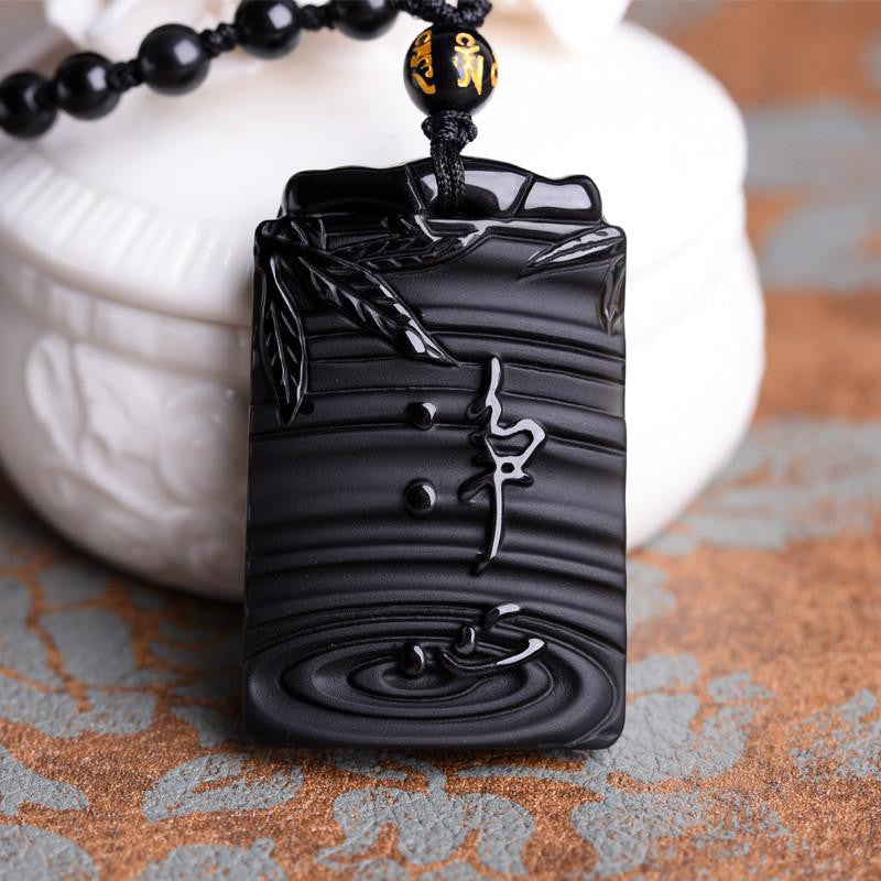 Natural obsidian pendant fine chinese plant carving jing xin men next aloadofball Image collections