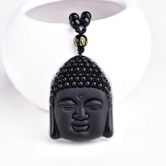 Men Jewelry - Obsidian Buddha Head Pendant; Natural Black Beads Necklace; Men Women Jewelry