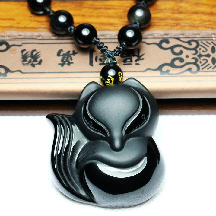 Men Jewelry - Obsidian Fox Pendant; Black Jewelry Unisex; Men Women Necklace; Lucky Charm;