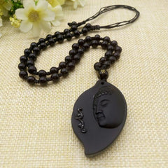 Men Jewelry - Purple Relic: Obsidian Buddha Necklace ~ Leaf Shaped ~ Bead Chain