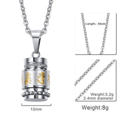 Men Jewelry - Rotatable Mantra Pendant; Stainless Steel Necklace; Men Jewelry Free Chain 20