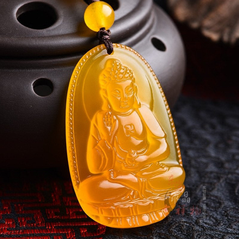 Men Jewelry - Yellow Jade Buddha Pendant; Yellow Bead Necklace; Fine Jewelry