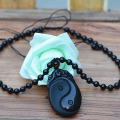 Men Jewelry - Yin Yang Obsidian Pendant; Free Bead Necklace; Natural Black Carved Stone Men Jewelry;