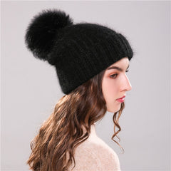 Knitted Beanies with Fur Pom Pom for Women