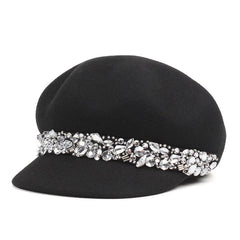 Black beret hat with rhinestones by Purple Relic