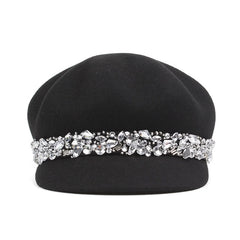 Soft, round, flat-crowned woolen felt rhinestone beret for women by Purple Relic