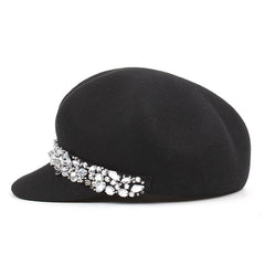 Women's black wool beret cap with visor and rhinestones by Purple Relic