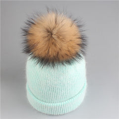 Fine Wool Beanie With Pom Pom - Rabbit Fur Winter Hat