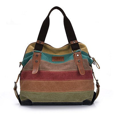 Totes - Canvas Bag Tote; Striped Women Handbags; Patchwork Women Shoulder Bag;