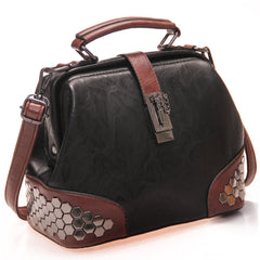 Totes - PURPLE RELIC: Women's Handbag ~ Leather Top Handle Ladies Purse (Black)