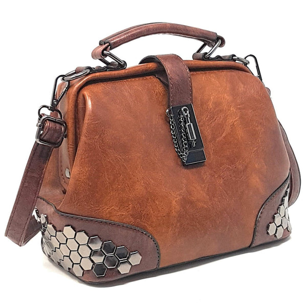 Totes - PURPLE RELIC: Women's Handbag ~ Leather Top Handle Ladies Purse (Brown)