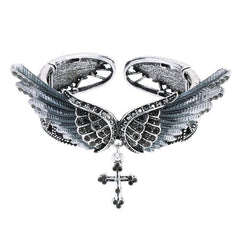 Women Bracelets - Angel Wings Cross Bracelet ~ Women Biker Crystal Bangle